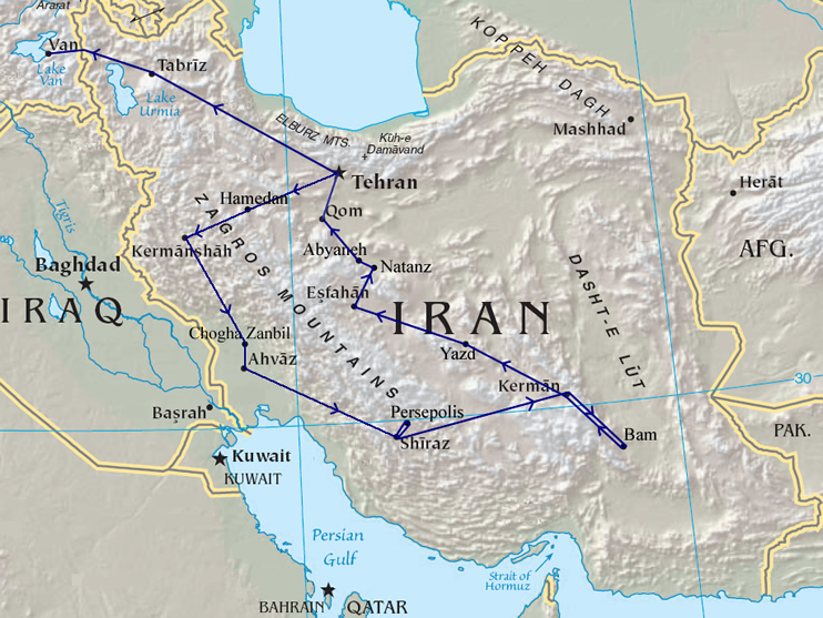 Travel Route through Iran