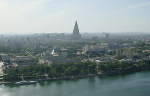 Juche Tower - view west, Ryugyong Hotel